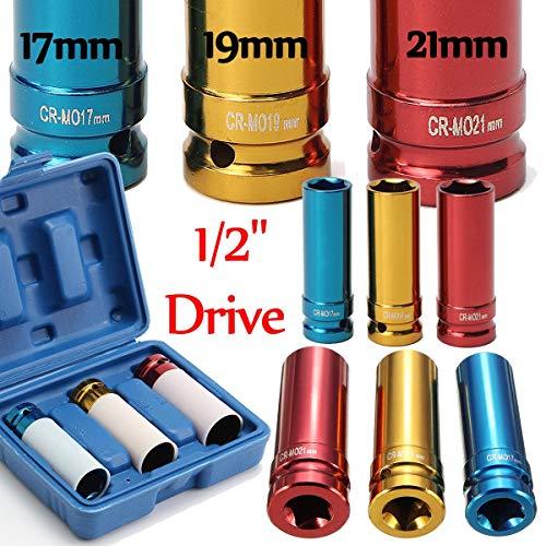 Wide Mouth Verstellbarer Schraubenschlüssel 3Pcs Legierung Radmutter dünnwandig Deep Impact Socket Set 1/2-Zoll-Laufwerk 17mm 19mm 21mm, Stärke und Haltbarkeit -