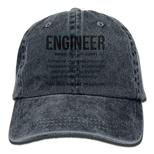 linranshangmao Lustiger Ingenieur Meaning Adult Cotton Washed Denim Reise Hut justierbares natürliches
