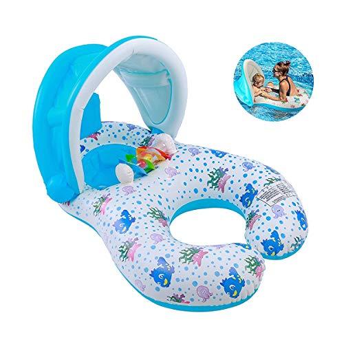 at mit Baldachin, aufblasbare Kinderposen für Pool, Baby Swim Float Mommy und Me Floaties für Kleinkinder im Alter von 6-36 Monaten ()