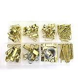 200Stück Bilder-Aufhänge-Set Robuster Sortiment mit Draht, Bild DIY Kleiderbügel, Haken, Nägel, Spiegel und Hardware für Rahmen