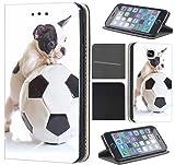 Samsung Galaxy J1 2016 J120 Hülle von CoverHeld Premium Flipcover Schutzhülle Flip Case Motiv (1467 Französische Bulldogge Fussball Hund)