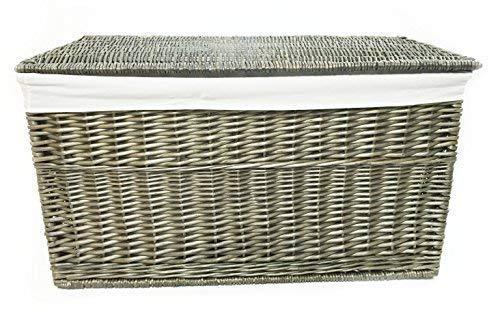 topfurnishing Shabby Chic Starkes Flechtweide Stoffvorratsbütte Trunk Spielzeug Decken Truhe - Oak, Medium 75x39x40cm (Medium Trunks Truhen)