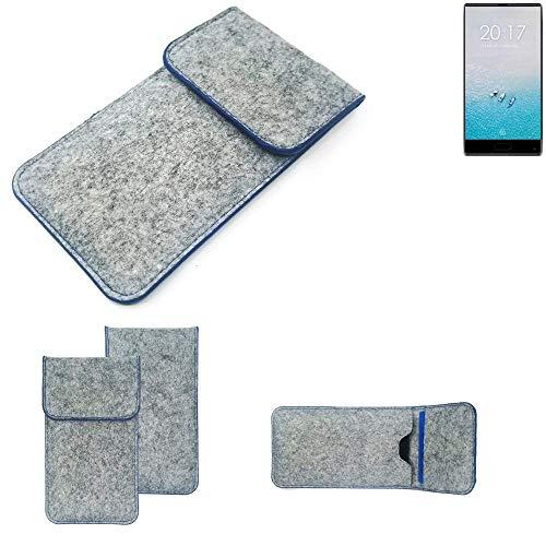 K-S-Trade® Filz Schutz Hülle Für Ulefone F1 Schutzhülle Filztasche Pouch Tasche Case Sleeve Handyhülle Filzhülle Hellgrau, Blauer Rand