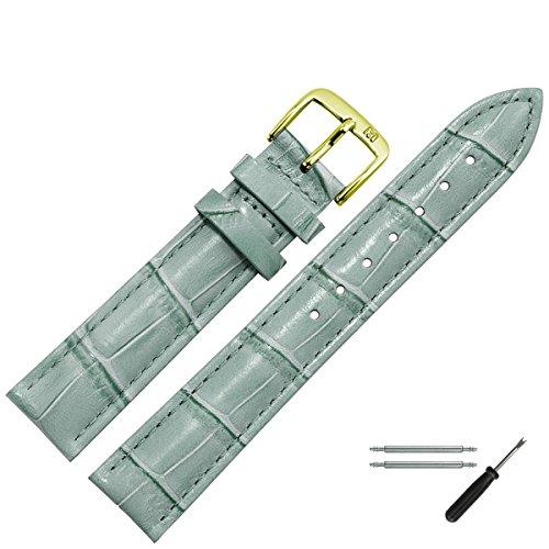 MARBURGER Uhrenarmband 20 mm Leder Grau Kroko - Uhrband Set 1432014000220 -