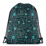 Vicky Science Rucksack mit Kordelzug, Mathematik-Muster, Reisetasche Einheitsgröße Siehe Abbildung