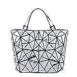 Frauen Geometrie Lattic Totes Water-Drop Handtasche PU Casual Totes Hologramm Tasche