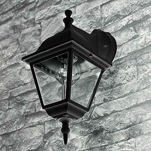 rustikale Wandleuchte außen schwarz E27 bis 60W 230V Wandlampe IP44 Außenleuchte nostalgisch Down Leuchte Gartenlampe Hof Beleuchtung Laterne