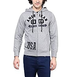 American Crew Mens Full Sleeves Grey Melange Hoodie - XL (AC1268-XL)