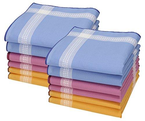 Betz 12 Stück Damen Stoff Taschentücher Set Chanelle 1 Größe 30x30 cm 100% Baumwolle Farbe Dessin 88 (12 Stück Baumwolle Bath)