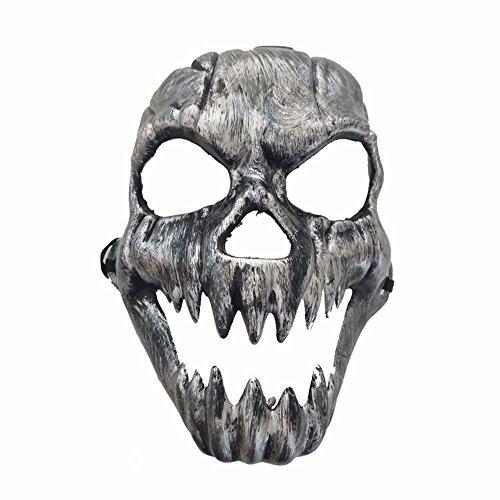 ,Halloween Horror Grimassieren Geisterkopf Maske Antiquität Zähne Schädel Kopf Maske Rost Silber Masquerade ()