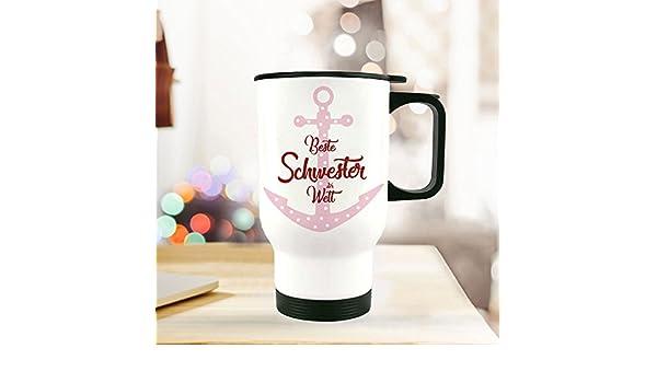 Thermobecher Isolierbecher Spruch Becher bedruckt Geschenk Beste Schwester tb109
