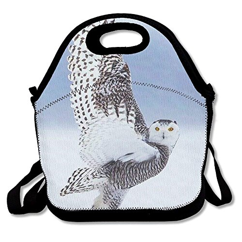 fengxutongxue Cute Snowy Owl Printed Portable Lunch Bag Carry Case Tote with Zipper Strap Box Cooler Container Bags Picnic Outdoor Travel Fashionable Handbag Pouch for Women Men Kids Girls