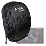 Housse 2 poches pour Sony Cyber-shot DSC-RX100M3 / RX100III et DSC-RX100M4 / RX100 IV appareils photo compacts - nylon noir + mousqueton DURAGADGET