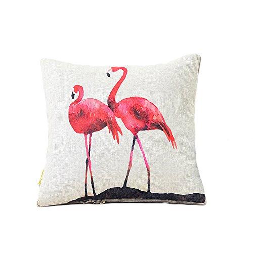 2 in 1 BaumwolleKissen Deckenkissen Sofa Flamingo-Muster Verwandlungskissen & Decke Auto-Decke Kissen 150x110cm Besucherdecke mit Kissen 40x40 cm Set