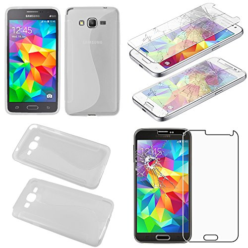 ebestStar - Compatibile Cover Samsung Grand Prime Galaxy G530F, Value Edition G531F Custodia Protezione S-Line Silicone Morbida, Trasparente + Vetro Temperato [Apparecchio: 144.8 x72.1 x8.6mm, 5.0'']