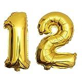 DekoRex 12 als Folienballon Luftballon Zahlenballon Jahrestag Geburtstag in Gold 80cm hoch