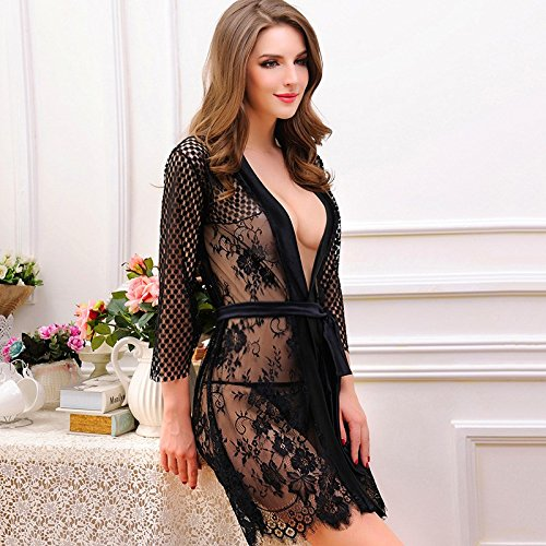lpkone-Tentation lingerie sexy dentelle Perspective Mesdames chemise hollowing out wild gratuitement long sleeve coat Size,Black Black