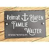 Hausschild personalisiert aus Schiefer 30 x 20 cm | Türschilder für Familie mit Namen und Koordinaten | Hausschilder Familien
