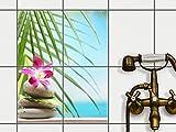 creatisto Bad-Sticker, Badezimmer-Fliesen | Fliesenaufkleber Folie Sticker Küche Bad Fliesenmuster Kellerfliesen | 20x25 cm Design Motiv Lotus Flower - 4 Stück