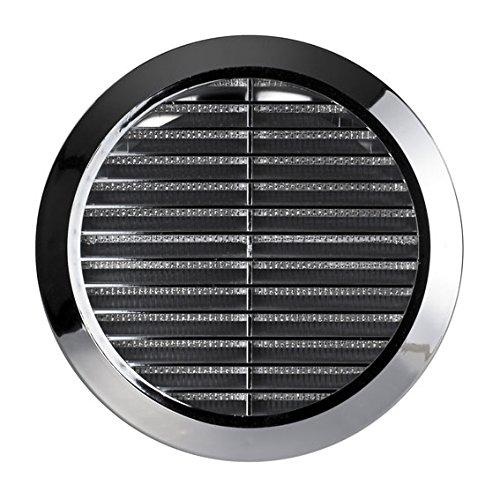 Griglia di ventilazione per l'aria, circolare, cromata, regolabile, di canalizzazione e connessione, 100mm, 125mm, 150mm, T36M