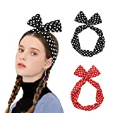 Durio Stirnband Damen Rockabilly Elastisch Haarband Breit Haarreifen Blumen Kopfband vintage Headweap Gekreuzt D 2 Pack-2