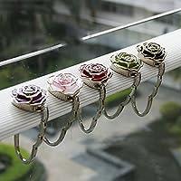 Generic red : Hot 1 pc Folding Bag Hanger Hook Holder Durable Table Door Bag Hook Holder Metal Flower Shape Handbags Hanger