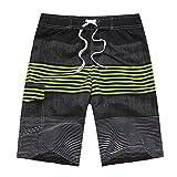 Bañador Hombre Playa Rayas Tricolores Board Shorts Pantalones Cortos Sueltos de Verano Verde XL