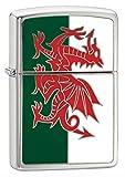 Zippo Wales Flagge Emblem Winddicht Feuerzeuge–Chrom gebürstet