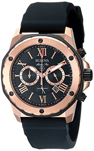Bulova-Mens-Designer-Chronograph-Watch-Rubber-Strap-Water-Resistant-Rose-Gold-Marine-Star-98B104