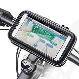 iKross - Soporte con montura y funda de bicicleta protectiva e impermeable para dispositivo con 9-14cm (3,5-5,5 pulgadas), color Negro
