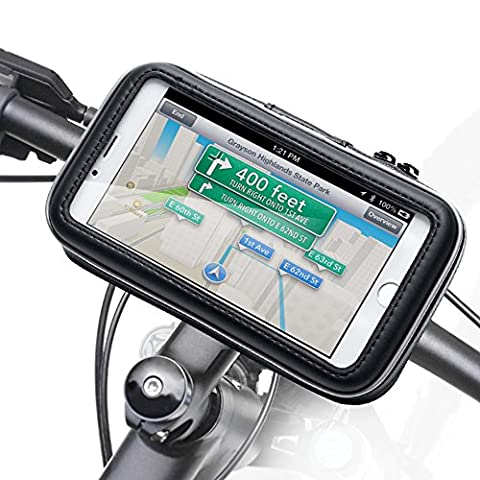 Waterproof Bike Mount, iKross Universal Bicycle Phone Handlebar Case Bag Cradle Holder for Apple, Samsung, Google, Huawei, LG, Motorola, Android Smartphone - Black