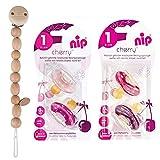 NIP Cherry Rundsauger Schnuller 4 Stück Girl Set // Gr.1 // 0-6 Monate // Creme & Pink + Lila & Rot