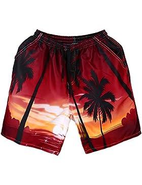 Pantalones de Playa con Impresiones en 3D,Mas el Tamaño de Hombre Transpirable Pantalones Cortos Swim Trunks Trajes...