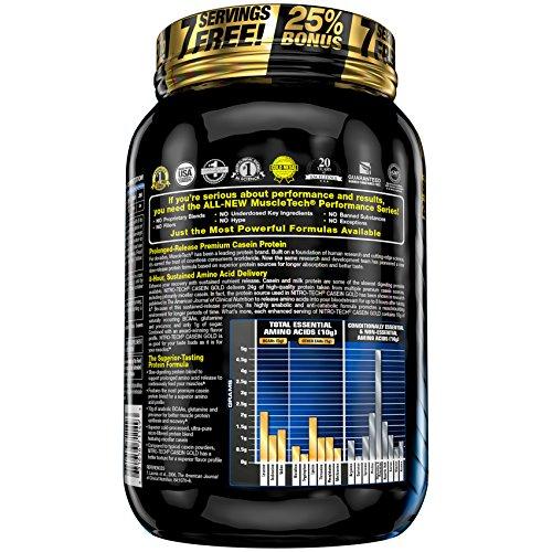 MuscleTech NitroTech Casein Gold 100 Percent Protein Powder, Creamy Vanilla, 1.15 kg