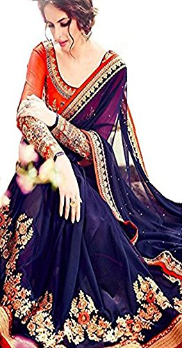 Magneitta Georgette Saree With Blouse Piece (73_Blue_Free Size)