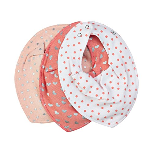 Pippi 3er Pack Baby Mädchen Halstuch mit Aufdruck, Farbe: Rosa und Weiß, One Size, 4265