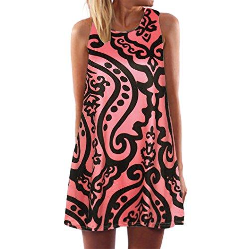 (Cooljun Damen Ärmellos Sommerkleid Minikleid Strandkleid Partykleid Rundhals Rock Mädchen Blumen Drucken Kleider Frauen Mode Kleid Kurz Hemdkleid Blusekleid Kleidung (3XL, Red))