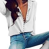 Elecenty Damen Revers-Hemd Bluse,Hemden Tasten Reizvolle Tops Bluse Lose Solide Oberteile Frauen Langarm Damenmode Blusenshirt T-Stücke Elegante Streetwear Pulli Hemd Blusen Blusentop (XXL, Weiß)
