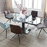 Esszimmertisch NOBLE 120 - 180 cm ausziehbar dunkelgrau Metall / Glas | Tisch für Esszimmer rechteckig | Küchentisch 4 - 8 Personen | Design Esstisch