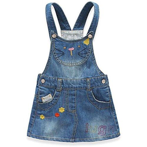 VEVESMUNDO Kinder Mädchen Latzkleid Jeans Kleid Jeanskleider Mini Kleid Kätzchen Muster Schlupfkleid Trägerkleid blau (für Körpergröße (Jährigen Für Prinzessin 11 Kostüme)