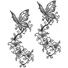 Tatouages papillons Autocollants Mode Tatouage Design Unisexe Tatouages Faux du corps Noir