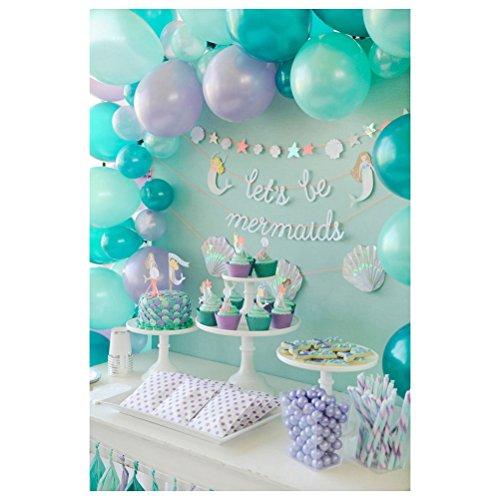 Uonlytech Geburtstags-Foto-Studio-Hintergrund-Stoff-3D Ballon-Kuchen-Fotografie-Hintergrund-Wand-Requisiten Collapsible Muslin Hintergrund