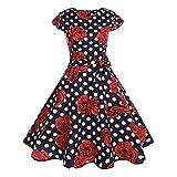 KPILP Frauen Formelle Kleidung Vintage Bodycon Kurzarm Petticoat O Neck Lässige Retro Abend Elegante Party Prom Schaukel Rockabilly Kleid(D-schwarz,EU-40/CN-M