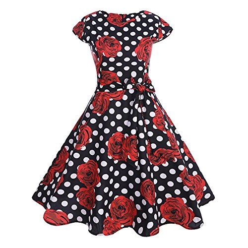 OverDose Damen Karneval formalen Stil Frauen Vintage Kurzarm o Neck abenddruck Partei Prom Maskerade straße schlank charmante schaukel Dress Dirndl