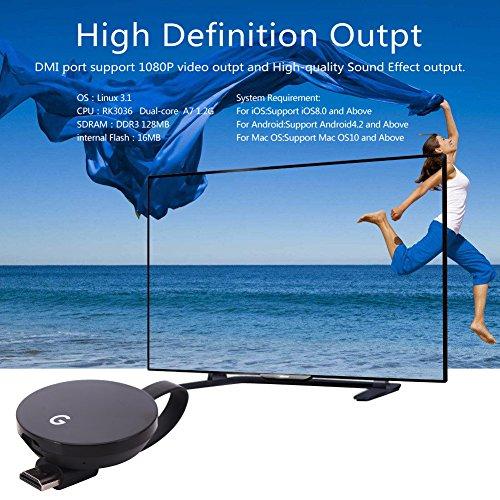 LONSUN Wireless WiFi Display Dongle TV Empfänger Adapter 1080P Full HD Unterstützung Google Chromecast für Miracast Airplay DLNA TV Stick für Android / Mac / IOS / Windows … - 4