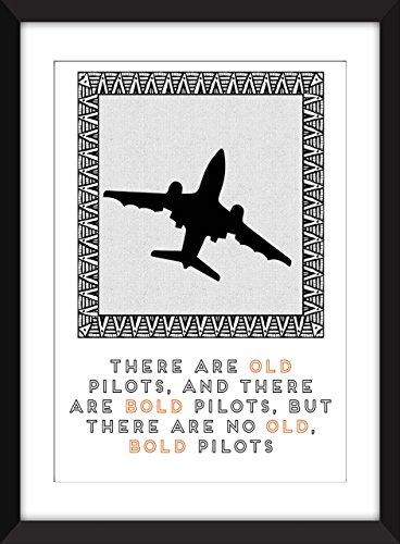 Mutiges altes Pilot-Zitat 11 x 14/8 x 10/5 x 7 A3 / A4 / A5 Druck-Typografie-Grafik, Geschenk für Luftfahrt-Fans - Old Pilots, Bold Pilots - Grafik Alter Druck