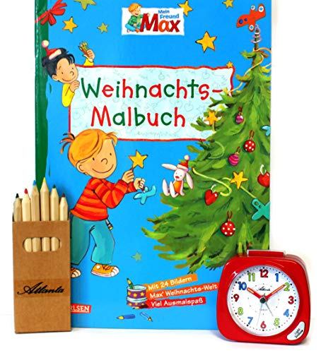 Kinderwecker ohne Ticken für Mädchen Rot + Malbuch Weihnachten + Stifte -1936-1 BUBS …
