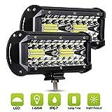 7 Pouces 120 W LED Lampe de Travail Projecteur, Phare de Travail LED 12V/24V 6000K 12000LM Hors Route Conduite Travail Spot Faisceau Feux de Brouillard LED pour Vehicule Camion ATV SUV (2 Pièces)