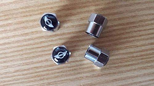 Latest Mini Black Logo Wheel Tyre Valve Dust caps / Ventilkappen Metall Schwarz für Mini Cooper, Cooper S, One, First NEU Mini Black Dust