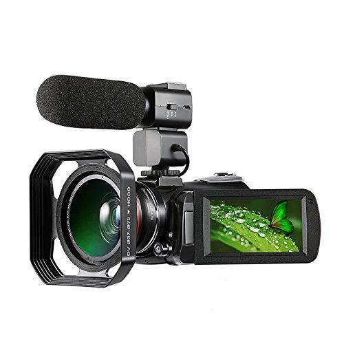 Videocamera 4k, videocamera digitale hd ultra-hd ordro 4k con microfono esterno, obiettivo grandangolare e paraluce/videocamera per visione notturna ir 24mp wifi 60 fps di express panda®